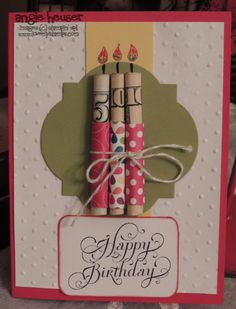 Money candles birthday card....this is fabulous!~T~You just need card stock, stamps and stickers, pretty paper and twine or ribbon.