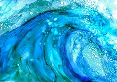 Lovely limited edition print of Waimea Wave painting hand signed by the artist.  Alcohol ink is my favorite medium. The colors are bright and intense and the unpredictability of the ink flow often makes for really unique pieces. I use brushes, different size palette knives and even straws to blow the ink around on the paper. Recently, I began mixing the alcohol ink with water colors and acrylics and the results are vivid saturated colors with the same fluid effects. All prints are  8 x 10…