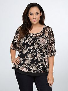 Plus Size Floral Peplum Blouse, BLACK FLORAL
