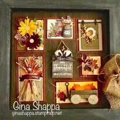 More PROJECTS From Retreat! :: Confessions of a Stamping Addict Created and designed by Gina Shappa! Lorri Heiling Stampin' Up Shadow Box Art, Shadow Box Frames, Fall Craft Fairs, Box Frame Art, Frame Wall Decor, Wall Art, Candy Cards, Fall Cards, Autumn Theme