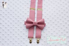 Bow Tie and SUSPENDERS set MAUVE - BALLET bow tie and suspenders, dusty rose tie, rose pink bow tie suspenders,mauve gold bow tie suspenders, mens wedding ties - Groom ties (*Amazon Partner-Link)