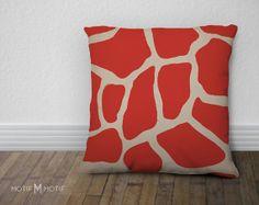 Coral Red Giraffe Print Throw Pillow Cover  by MotifMotifShop, $57.99 #throwpillow #homedecor #animalprint
