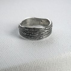 Weathered Bark Fine Silver Ring  Ready to Ship by janewearjewelry, $129.00