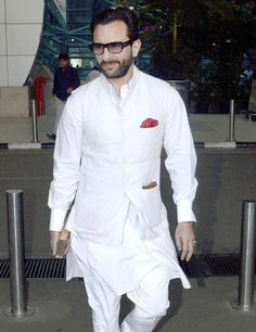 Saif Ali Khan, Kajal Agarwal, Sharman Joshi and other Bollywood celebs were spotted at Mumbai airport. Here s a look at the candid shots Wedding Dresses Men Indian, Wedding Dress Men, Wedding Suits, Kurta Pajama Men, Kurta Men, Saif Ali Khan Kurta, Indian Groom Wear, Indian Wear, Modi Jacket