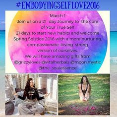 Can't wait for you to JOIN US! Starting tomorrow! Look for this weeks topics tonight. #embodyingselflove I am Happy to announce our 21 Day Journey to the Core of Your True Self.  In 21 days we will explore many ways on how we can embody self love to become a better version of ourselves.  Creating new habits getting rid of limiting beliefs and conditionings. Learning ways on how to listen to our bodies so we don't  neglect ourselves. How to create sacred spaces that will allow us to be clear…