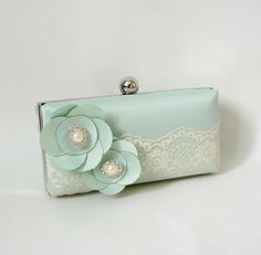 Romantic Mint Clutch Purse with Lace and Flower by tbtcwedding, $75.00