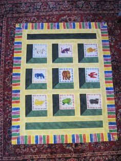 """A baby quilt that my mom and I completed for a long-time friend using pre-printed panels from Eric Carle's """"Brown Bear, Brown Bear"""""""