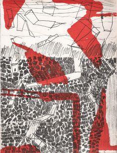 Hanns Schimansky  portfolio, etching (1) for La Récitation de l'oubli, 2009  Etching