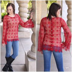 This gorgeous lace blouse can be worn casual or dress it up. Perfect little holiday blouse.    #120815-1 ---> $38    Call our boutique 702-906-1723, click the Shop Now button at the top of our Facebook page or use our easy jot form located in our Instagram Bio #apricotlanetownsquare #newarrivals #lace #crochet #holidayoutfit