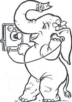 Just-a-mere: Blogtober 14 - Wake Up and Color! Free Kids Coloring Pages, Coloring Pages To Print, Coloring Book Pages, Coloring Pages For Kids, Elephant Coloring Page, Elephant Quilt, Stitch Design, Drawing For Kids, Digital Stamps