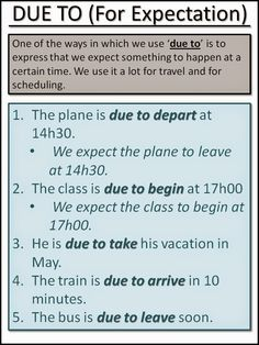 Due to for expectation #esl #learnenglish