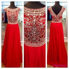 Red Prom Dresses,Elegant Evening Dresses,Long Formal Gowns,Beading Party Dresses,Chiffon Pageant Formal Dress,Cap Sleeves Evening Gown,Modest Prom Dresses For Teens PD20184790