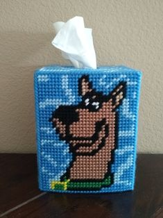 Handmade Finished Scooby Doo Cartoon Tissue Box Cover Home Decoration Plastic Canvas Tissue Boxes, Plastic Canvas Crafts, Plastic Canvas Patterns, Box Patterns, Bead Loom Patterns, Cross Stitch Alphabet Patterns, Stitch Patterns, Canvas Designs, Canvas Ideas