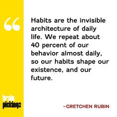 How to harness the transformative power of habit—an illuminating psychological field guide: http://www.brainpickings.org/2015/03/23/better-than-before-gretchen-rubin
