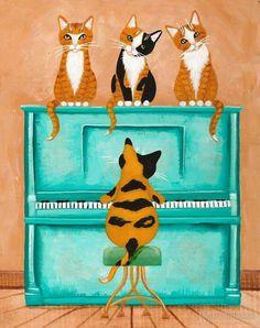 Piano Playing Cat Original Cat Folk Art Painting by KilkennycatArt on Etsy Chat Ch, Frida Art, Cat Art Print, Naive Art, Cat Drawing, Cat Design, Poster, Folk Art, Illustration Art