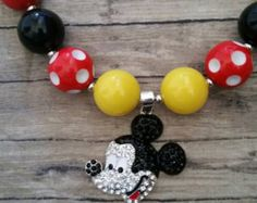 Bling rhinestone Mickey Mouse girls children chunky bubblegum bead necklace, red black and yellow, birthday