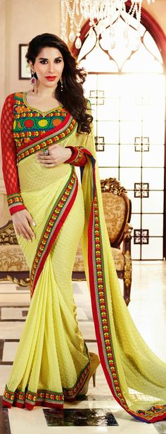 A fabulous #saree with blouse piece available only at www.vivaahfashions.com/Sarees/yellow-embroidered-faux-georgette-saree for $62.36!!