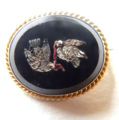 Victorian gold brooch. Micromosaic doves with worm. Ornate gold rope twist mount | eBay, sold for £185.00
