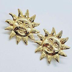 Aztec Sun Face Gold Tone Pierced Post Fashion Earrings #Estate #Stud 90s Jewelry, Citrine Gemstone, Gold Pendant Necklace, Star Shape, Flower Earrings, Vintage Flowers, Fashion Earrings, Solid Gold, 1 Piece