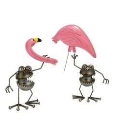 Take care of that pesky flamingo problem plaguing your yard with the help of these helpful and humorous critters. A totally twisted (in a good way) garden sculpture that will have all the neighbors laughing (and hiding their flamingos, of course!). Handmade from both new and recycled parts by Utah artist Fred Conlon.  Set includes two Flamingo-aways and a plastic pink flamingo in two pieces.Will develop a rust patina outdoors.Click here to view a video of how  Fred Conlon creates his art!