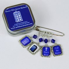 stitch markers Doctor who stitch marker dr who knit accessories who crochet supplies knitting tools tardis call the doctor who don't blink. $14.95, via Etsy.