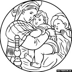 free coloring page of Raffaello Sanzio painting - Madonna della Seggiola (Sedia). You be the master painter! Color this famous painting and many more! You can save your colored pictures, print them and send them to family and friends! Online Coloring Pages, Coloring Books, Kids Coloring, Free Coloring, Art Auction Projects, Art Projects, Art Sketches, Art Drawings, Indian