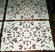 Rz Cutwork Embroidery, White Embroidery, Embroidery Patterns, Machine Embroidery, Lacemaking, Point Lace, Cut Work, Linens And Lace, Linen Tablecloth