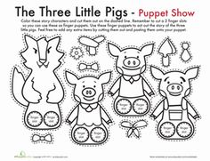 Kindergarten Fairy Tales Paper Projects Worksheets: The Three Little Pigs Finger Puppets Worksheet