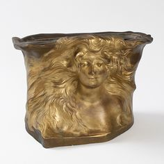 This is not contemporary - image from a gallery of vintage and/or antique objects. A French Art Nouveau patinated and gilt bronze jardiniere depicting the face of a windswept woman. Sculptures For Sale, Garden Sculptures, Modern Planters, Garden Planters, Jugendstil Design, Art Nouveau Design, French Art, Art Object, Metal Art