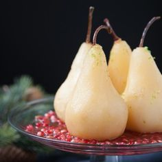 How to poach pears. Recipe for spiced cranberry nectar poached pears and pomegranates. Great winter or holiday recipe. Pear Recipes, Fruit Recipes, Holiday Recipes, Wine Recipes, Recipies, Chocolate Avocado Brownies, Chocolate Covered Bananas, Strawberry Oatmeal Bars, Blueberry Crumble Bars