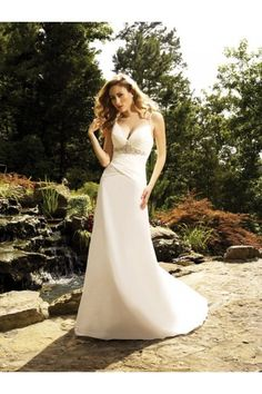 Sexy Spaghetti Straps Empire Wedding Dress Features V Neckline