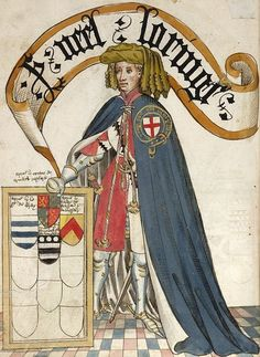 "Sir Nele ""Nigel"" Loring from the Bruges Book 1430, by William Bruges, first Garter King of Arms.  Recently discovered that Sir Nigel Loring is my 20th Great Grandfather."