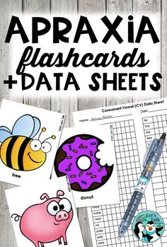 Do you need flashcards to send home with your Apraxia/severe articulation students? These apraxia cards were a LIFESAVER when I worked with preschool children! There are data sheets for all cards. Check it out!