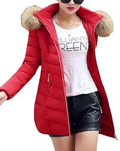 438662123f7 Papijam Women s Winter Puffer Faux Fur Hood Slim Parkas Jacket Coats Dark  Red Small