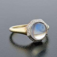 Edwardian Platinum &14kt Cabochon Moonstone Ring
