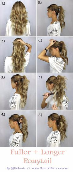 Great Glam Ponytail Tutorials – How To Create A Fuller + Longer Ponytail – Simple Hairstyles and Pony Tails, Messy Buns, Dutch Braids and Top Knot Updo Looks – With and Without Bobby Pins – Aw ..