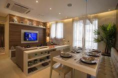 Sala de estar e jantar aberta
