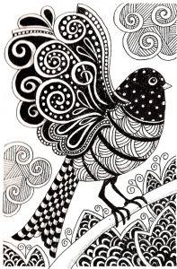 Display image coloring-adult-dark-bird