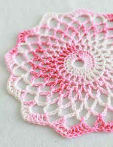 Well that looks quick and simple!!  This would be a great hostess gift with some canned treats!Free Crochet Pattern Shaded Pinks Doily #86