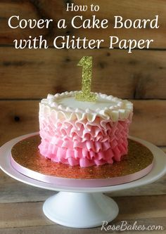 How to Cover a Cake Board with Glitter Paper. This is a really easy, inexpensive way to make a beautiful cake board for your cakes! Come see...RoseBakes.com
