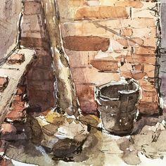 """Joy Liu on Instagram: """"🧱 🍂 🖋  #watercolor #watercolorpainting #sketchbook #ink"""" Interesting Stuff, Watercolor Paintings, Joy, Instagram, Water Colors, Glee, Being Happy, Watercolour Paintings, Watercolor Painting"""