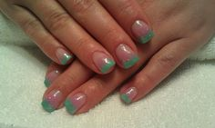 Pink and Teal sparkle ombre gel nails