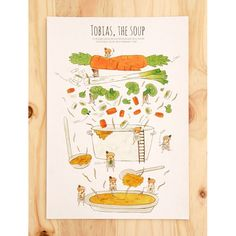 ILLUSTRATED RECIPE | TOBIAS, THE SOUP Rafaela Rodrigues was born in Machico, a little village in the Madeira island. Her universe, always full of magic and crowded with people, is made of colour and a very good sense of humour. This recipe shows it very well, just take a good look at the details! lusamater.pt