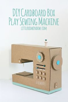 DIY Cardboard Box Play Sewing Machine - Little Red Window - Nähmaschine - Easy Sewing Projects, Sewing Projects For Beginners, Sewing Hacks, Sewing Tips, Sewing Tutorials, Sewing Ideas, Carton Diy, Diy Karton, Sewing Machine Stitches