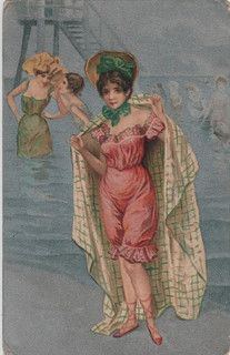 Lady in Bathing Costume (vintage postcard)