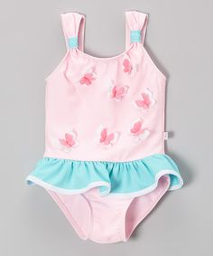 Another great find on #zulily! Pink Butterfly Skirted One-Piece - Girls by Floatimini #zulilyfinds