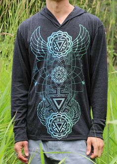 MANIPURA CHAKRA Men's Long Sleeve Hoodie - Color Fade Edition - Sacred Geometry Clothing