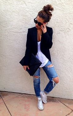 outfits with ripped jeans teens - Google Search