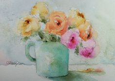 Pink and Yellow Roses in Mug Original Watercolor Painting by RoseAnn Hayes, available in Etsy shop