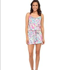 Lilly Pulitzer Deanna Romper multi palm reader New with tags! Elastic waist. 100% rayon. Lilly Pulitzer Pants Jumpsuits & Rompers